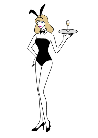 bunny girl: Bunny girl standing with a champagne glass on a tray in hand
