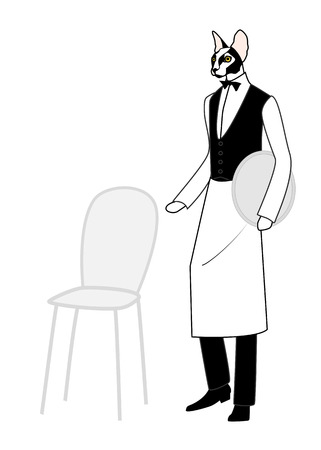 restaurant staff: Cartoon animal. Cat as a waiting staff of a cafe or a restaurant, dressed in black vest and bow tie with a tray in hand, inviting to take a seat. Illustration