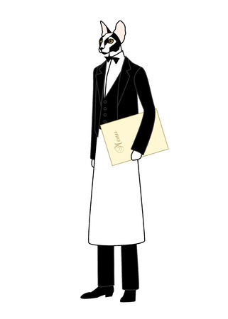 restaurant staff: Cartoon animal. Dressed in black vest and bow tie with a menu in hand, the cat as a waiting staff of a cafe or a restaurant.