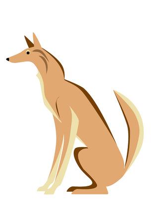 full length: Wild dog image like jackals. Sitting, Full length, side view. Illustration