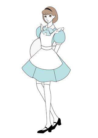 frill: Cute girl in maid uniform