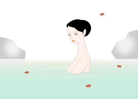 woman in bath: Woman taking a bath in an outdoor hot spring