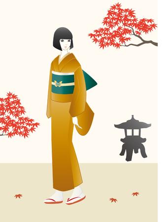 japanese garden: Girl in kimono standing in japanese garden