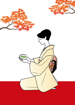 autumn woman: Woman in kimono, an image of autumn tea ceremony