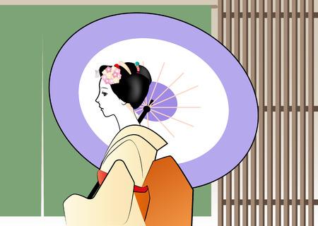 putting up: Profile of apprentice geisha putting up an umbrella Illustration