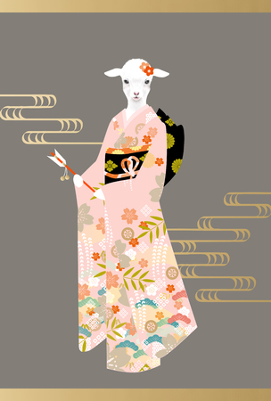 personification: Cute lamb in gorgeous pink kimono with japanese water pattern Stock Photo