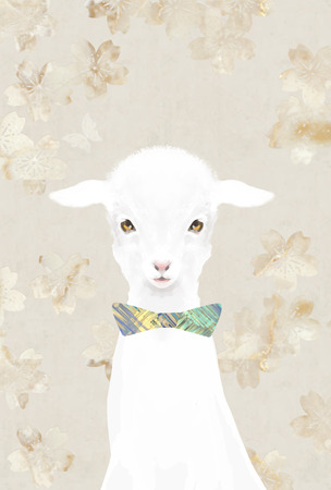 butterfly bow: Cute lamb wearing bow tie on floral background with butterfly Stock Photo