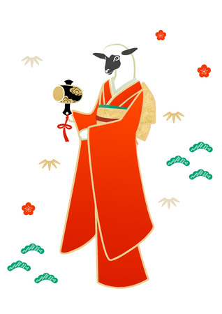 new years day: Sheep in kimono with japanese patterns for new years day Stock Photo