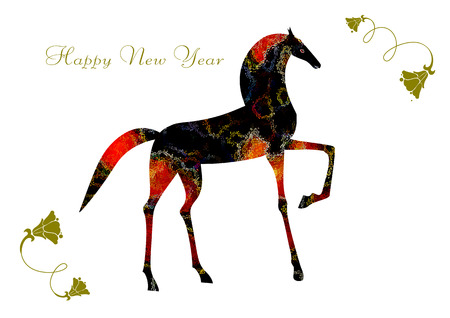 red horse: Design of black and red horse for new year card