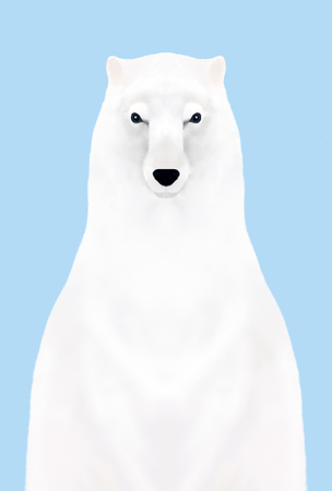 front view: Front view of staring polar bear