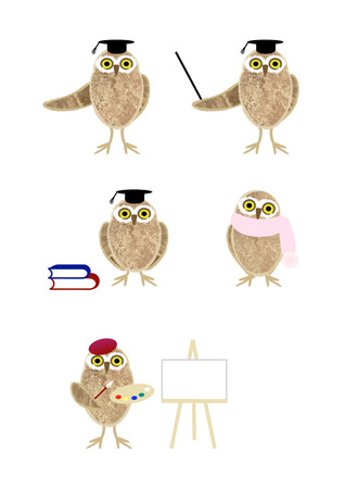 Personification cute owls posing