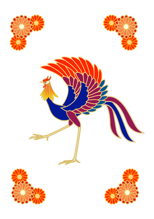 Phoenix with flower patterns