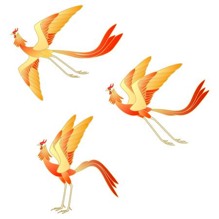 Illustration set of phoenix isolated on white background