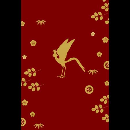 plant stand: Gold silhouette of phoenix with plants patterns on red and black Stock Photo