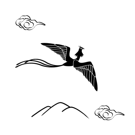 moutain: Monochrome illustration of a phoenix flying over mountains