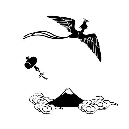 moutain: Monochrome illustration of a phoenix flying over fujiyama