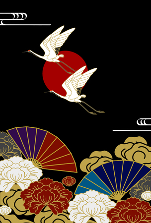 peony black: Flying Japanese cranes with peony flowers and fan pattern on black background