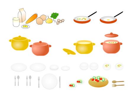 Pan, dish, cutlery, food, cooking Stock Photo