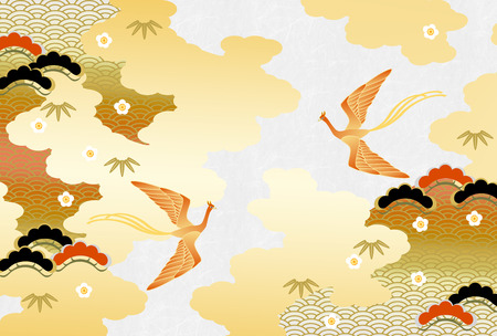 Flying birds and Japanese nature patterns on gold and white