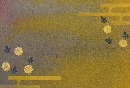 japanese chrysanthemum: Chrysanthemum flowers and mist patterns on Japanese paper Stock Photo