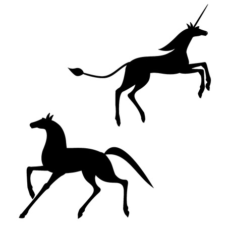 Silhouette of a horse and a unicorn Stock Photo