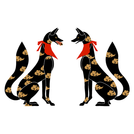 Fox silhouette with Japanese pattern as symbol of Japanese shrine Stock Photo