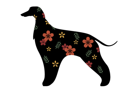 Silhouette of afghan hound dog decorated with flower patterns