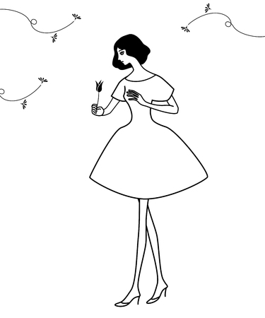 monotone: Drawing of a girl with a tulip flower