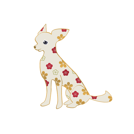 chihuahua: Cute sitting chihuahua decorated with flower patterns