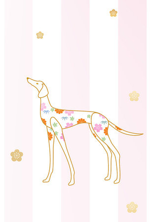 sprite: Profile of a dog decorated with flower patterns on sprite background