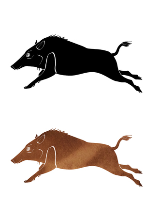 Illustration set of running boar