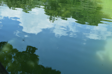 Early summer sky reflected in the park's pond