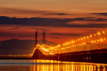 Bridge at spectacular sunrise in Penang, Malaysia