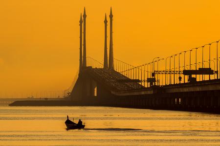 Fishing boat on the bridge in Penang, Malaysia