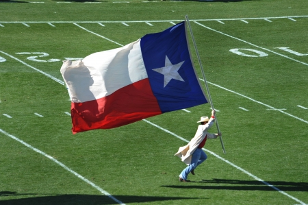 Texas Flag running down the field. Stock Photo - 4222940