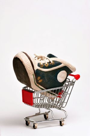 Giant Basket ball shoe in a cart. Stock Photo - 4976121