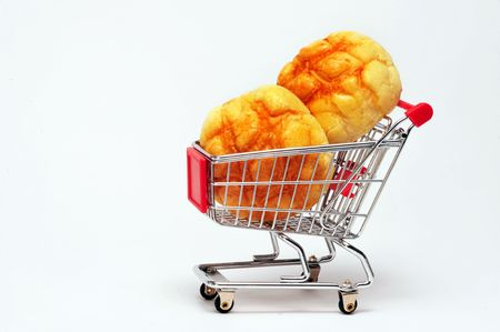 Bread in shopping cart. Stock Photo - 4976117