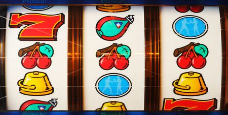 machine: Slot Machine showing Cherries. Stock Photo
