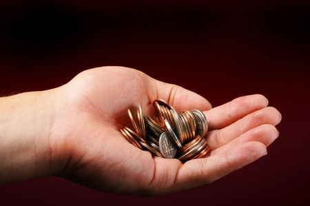 nickle: Handout for money. Stock Photo