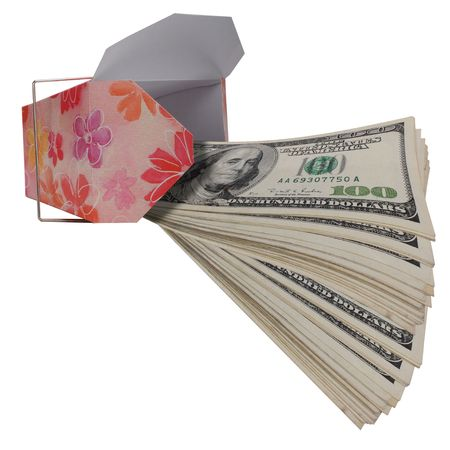 Money coming out of a to go box. photo