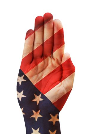 American hand with flag over it.