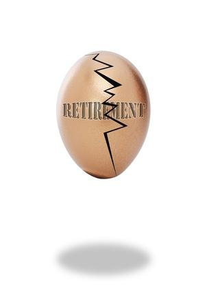 Golden cracked retirement egg. Stock Photo - 8370710