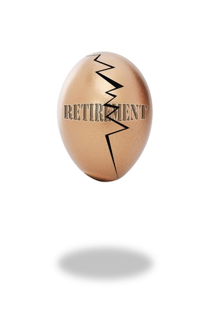 Golden cracked retirement egg. photo