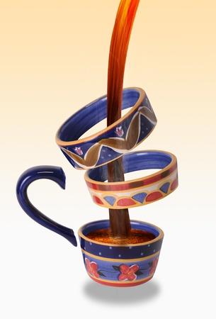 Crazy broken coffee cup. photo