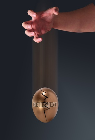 Droping the golden retirement egg. Stock Photo - 8370713