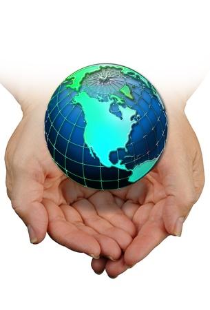 el mundo en tus manos: El mundo en sus manos. Foto de archivo