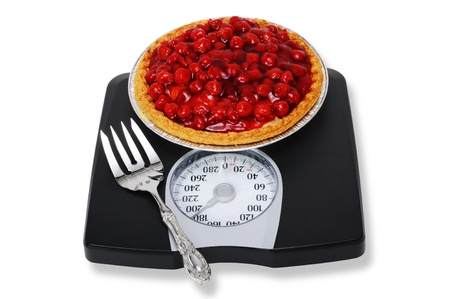 Red Cherry Pie en las escalas. Foto de archivo - 8498203