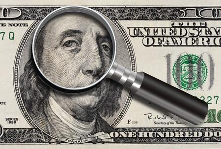 Sad Eyes of one hundred dollar bill. Stock Photo