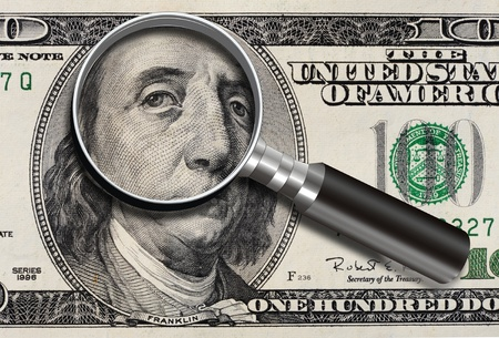 Sad Eyes of one hundred dollar bill. Stock Photo