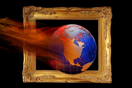 Earth Framed and on Fire. photo
